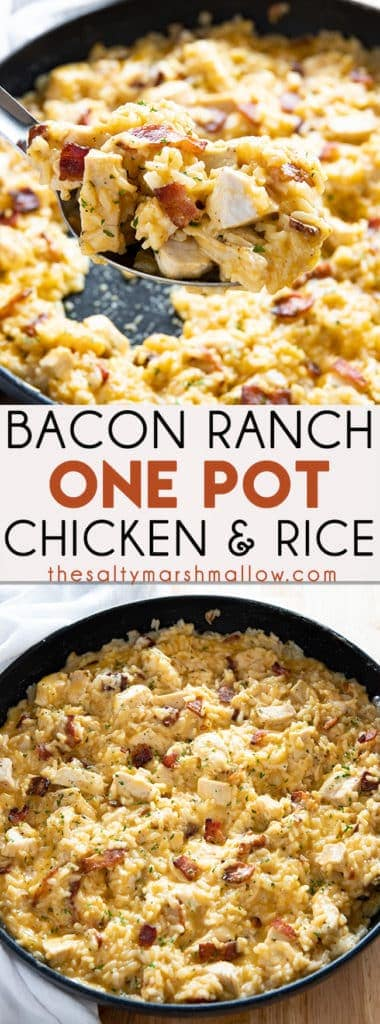 Bacon Ranch One Pot Chicken and Rice - The easiest and most flavorful chicken and rice recipe ever! Packed full of juicy chicken, crisp bacon, ranch, rice, and gooey cheese! #chickenandrice #easychickenandrice #chickenandricerecipes #baconranchchickenandrice #thesaltymarshmallow
