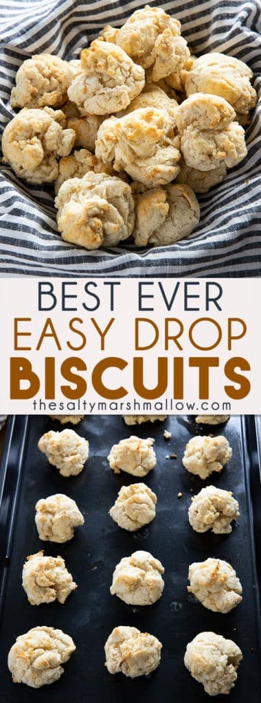 Easy Drop Biscuits are a simple, quick and easy biscuit recipe that comes together in about 15 minutes!  These biscuits are perfect with gravy or a nice addition to any meal! #biscuits #easyhomemadebiscuits #easydropbiscuits #quickeasybiscuits #thesaltymarshmallow