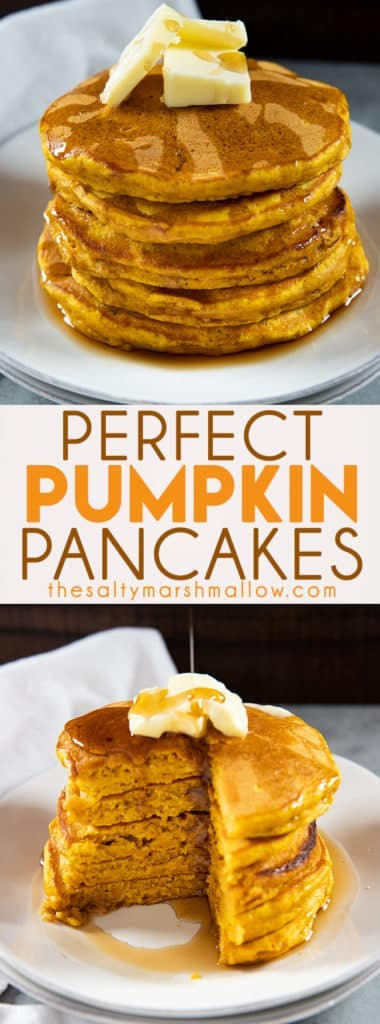 Perfect Pumpkin Pancakes are the absolute best and so easy to make with everyday ingredients!  Packed full of fall flavor with pumpkin, cinnamon, ginger, and nutmeg! #pumpkin #pumpkinrecipes #easypumpkinrecipes #pumpkinpancakes #thesaltymarshmallow