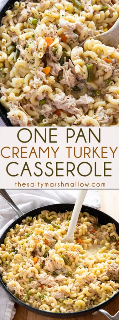 One Pan Turkey Casserole is a mouthwatering family favorite way to use up leftover turkey!  This creamy and cheesy turkey casserole with pasta is so easy to make in one pan! #casserolerecipes #leftoverturkey #teftoverturkeyrecipes #leftoverturkeyrecipeseasy #thanksgivingleftovers #thesaltymarshmallow