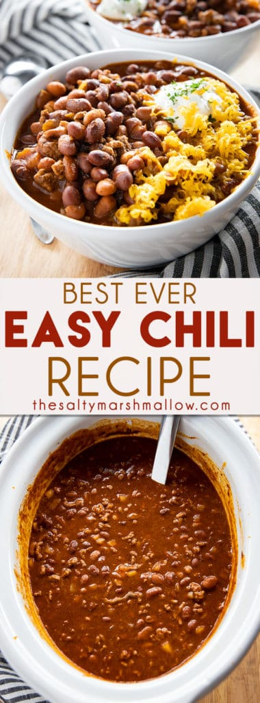 Best Easy Chili Recipe is my family's absolute favorite, and the only quick and easy chili recipe you will ever need! Learn how to make hearty, comforting chili in your crockpot or on your stovetop! #chili #chilirecipe #easychilirecipe #bestchilirecipe #crockpotchilirecipe #thesaltymarshmallow