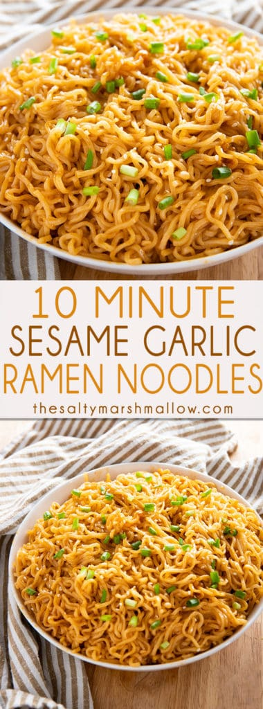 Sesame Garlic Ramen Noodles Recipe - The best ramen noodle recipe made easy at home with a simple and super flavorful sauce!  Learn how to make ramen taste even better in a snap! #noodles #ramennoodles #easydinnerrecipes #thesaltymarshmallow #easyramenrecipes