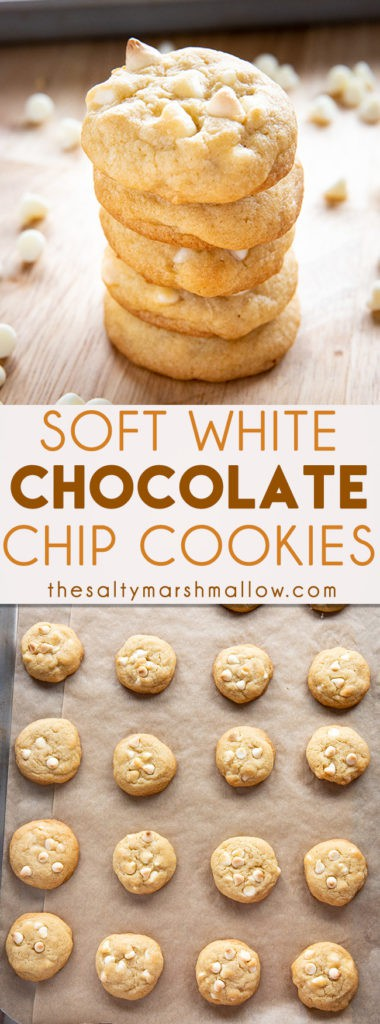 White Chocolate Chip Cookies are soft, chewy, and packed full of white chocolate chips!  These easy to make cookies are sure to become a family favorite! #cookies #cookierecipes #christmascookies #whitechocolate #whitechocolatechipcookies #easywhitechocolatechipcookies