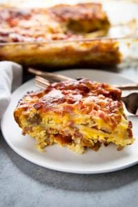 slice of breakfast casserole on a plate