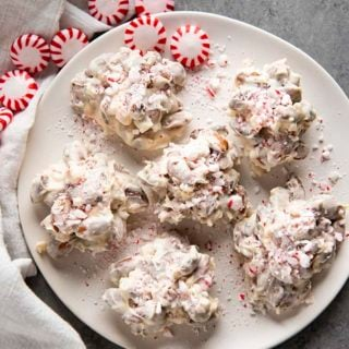 almond clusters with white chocolate and peppermint