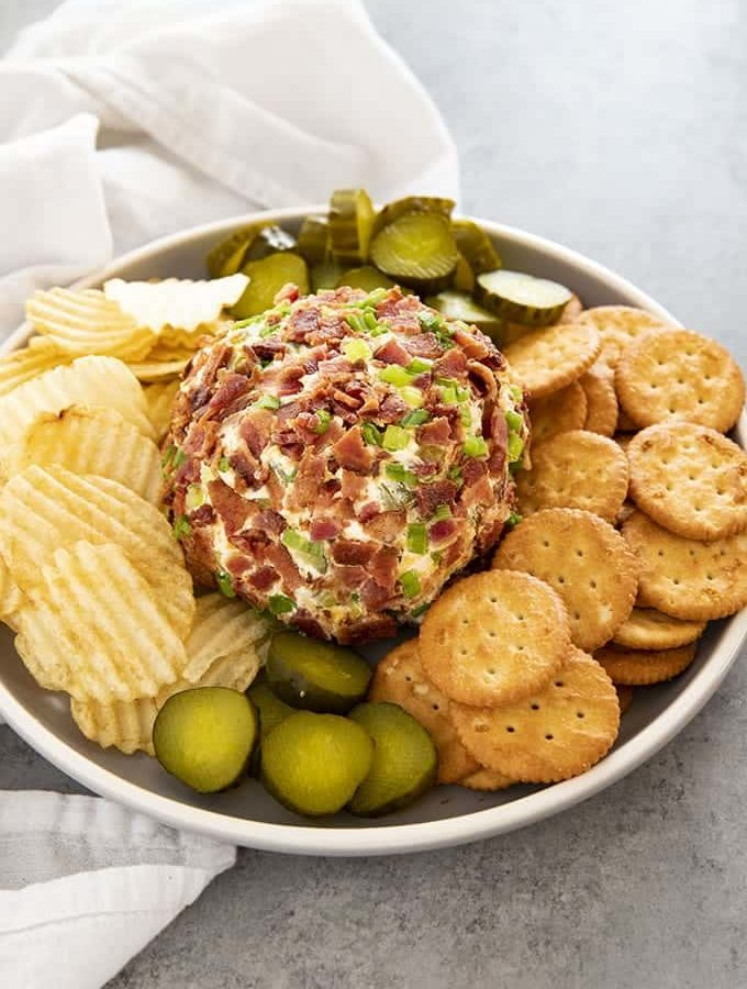 cheese ball with pickles and bacon