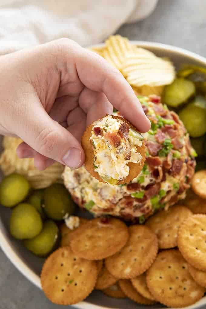 dill pickle bacon cheese ball on cracker