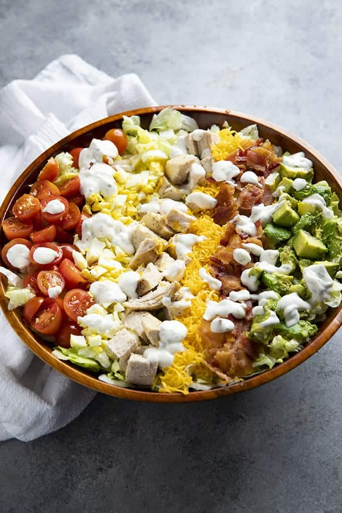chopped salad with vegetables bacon and corn