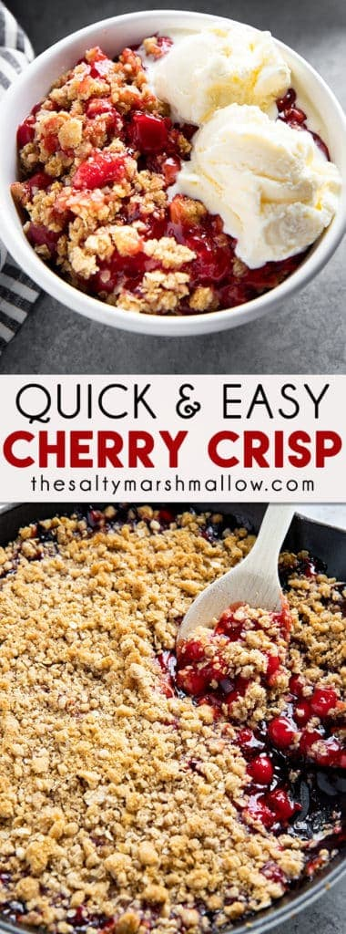 Easy Cherry Crisp is a fun and simple dessert that uses canned pie filling! The quick homemade topping for this crisp is flavorful and comforting!