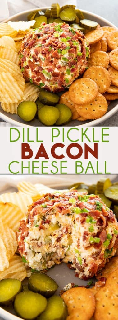 Dill Pickle Bacon Cheese Ball is such a fun and easy cheese ball recipe made with cream cheese, cheddar, pickles, and bacon! The perfect appetizer for any party!