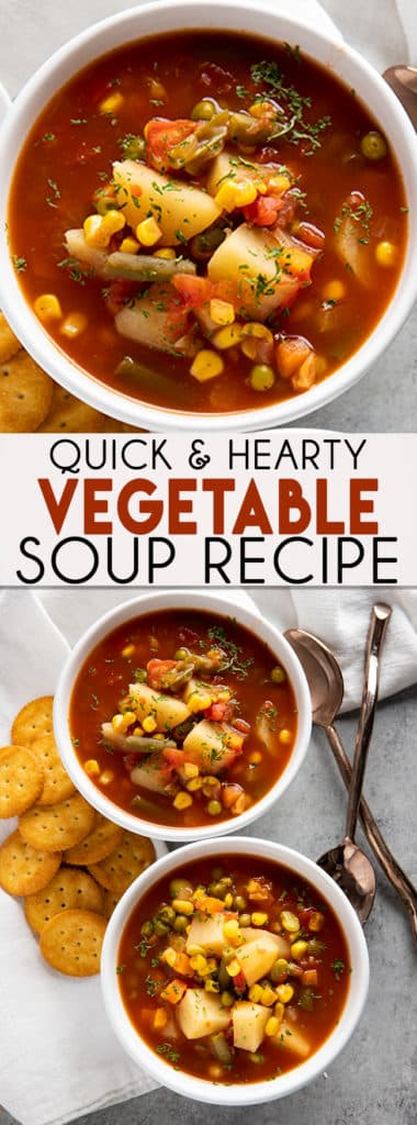 Easy Vegetable Soup is a simple but hearty, and savory soup recipe that the whole family will love!  You can make this vegetable soup recipe on your stove top or your slow cooker! #vegetablesoup #vegetablesouprecipe #easyvegetablesouprecipe #slowcookervegetablesoup #thesaltymarshmallow