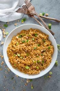 thai peanut ramen noodles in bowl