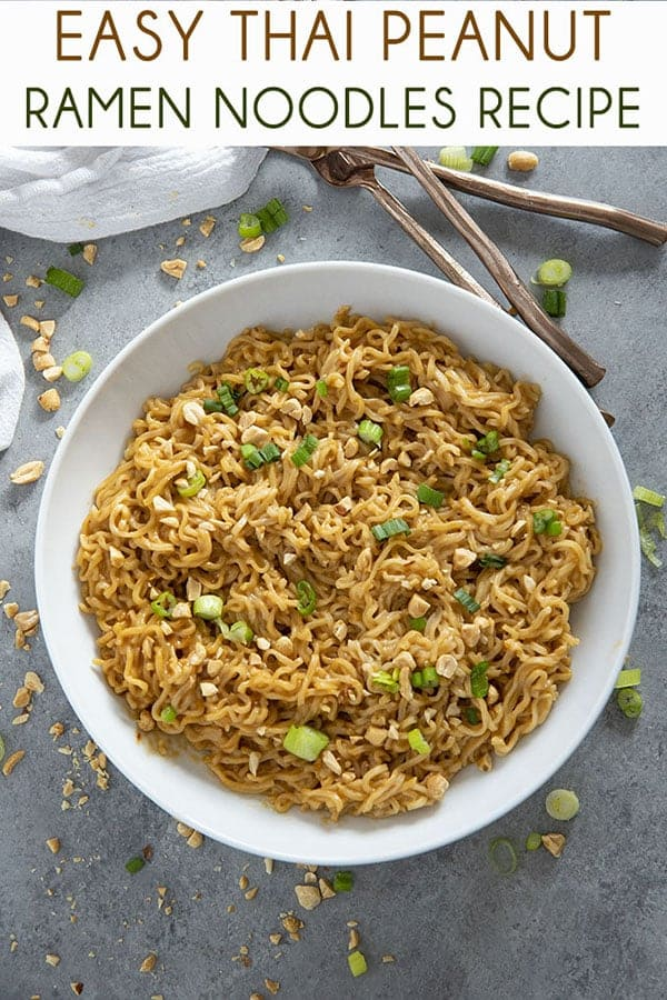 Thai Peanut Ramen Noodles gives instant ramen a makeover with a mouthwatering peanut sauce! This easy ramen noodles recipe is ready in ten minutes! #ramen #ramennoodles #ramennoodlerecipes #easydinnerrecipes #noodles