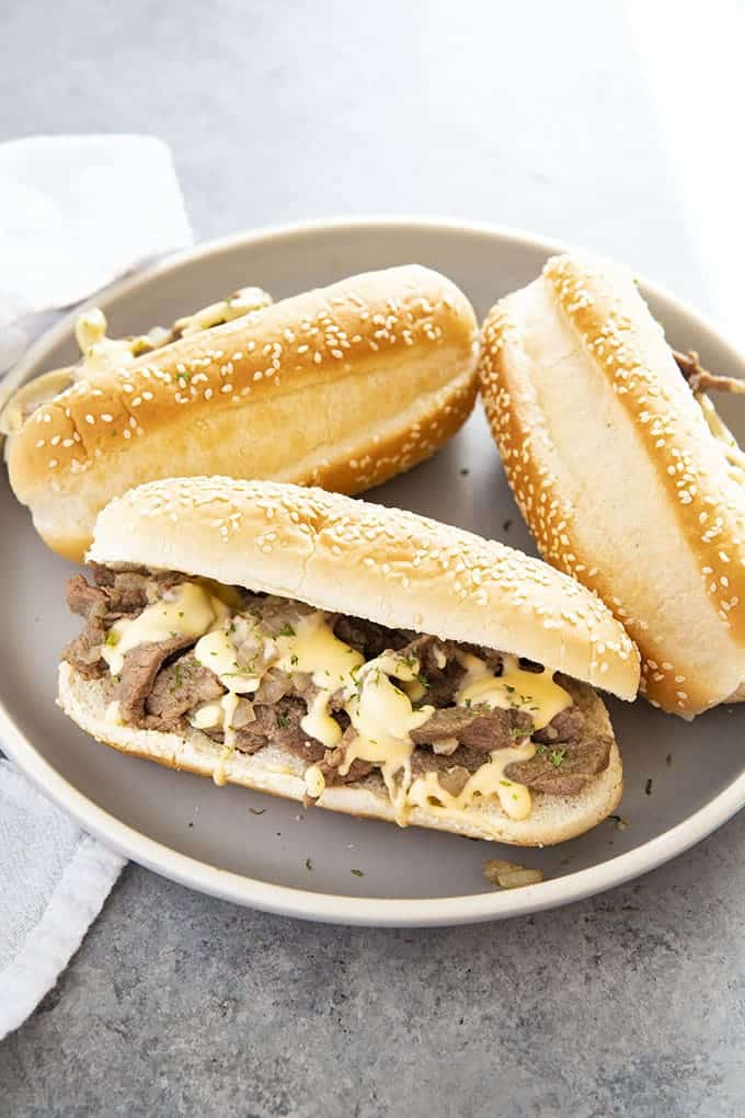 philly cheesesteak on plate