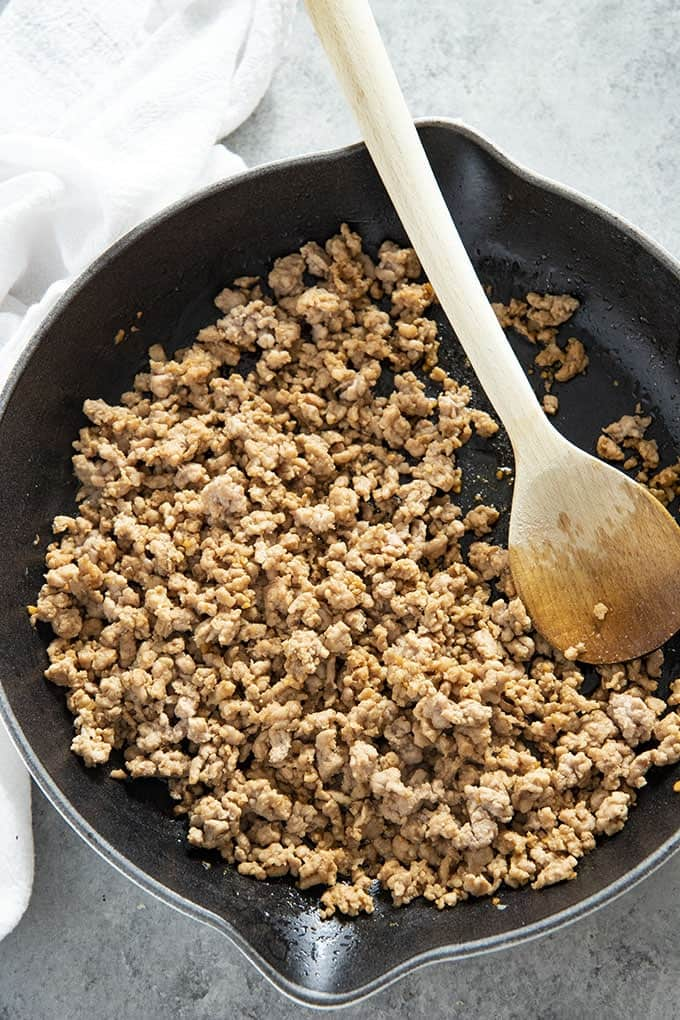 sesame ground pork in pan