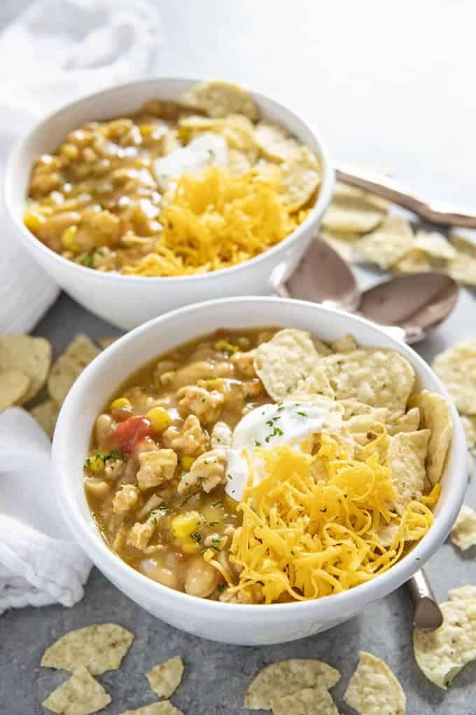 ground turkey enchilada soup in a bowl