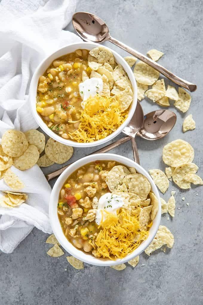 enchilada turkey soup in two bowls
