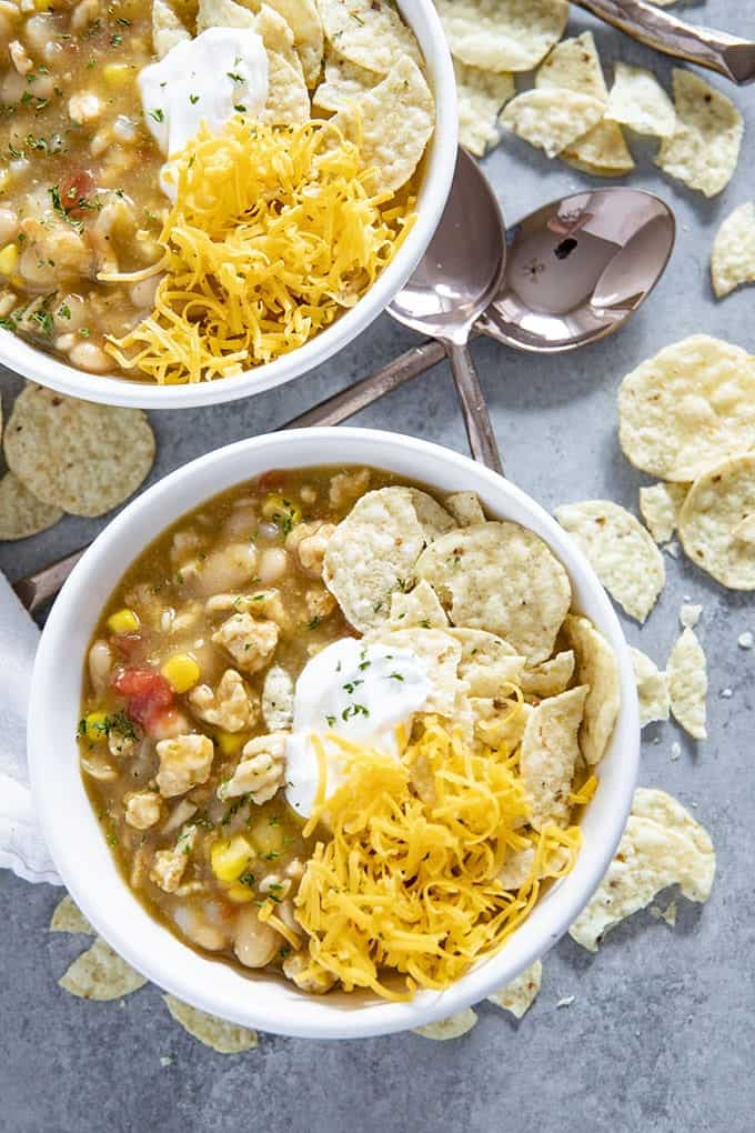 enchilada turkey soup with cheese and sour cream
