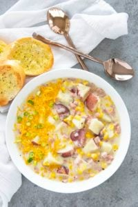 corn chowder in a white bowl
