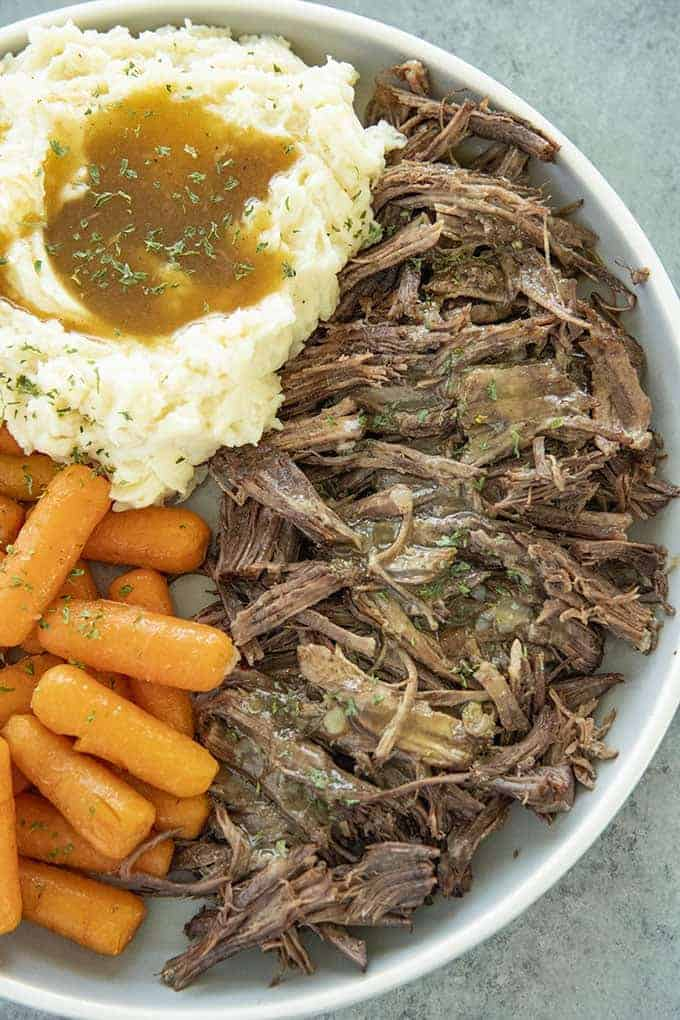 instant pot pot roast on a plate