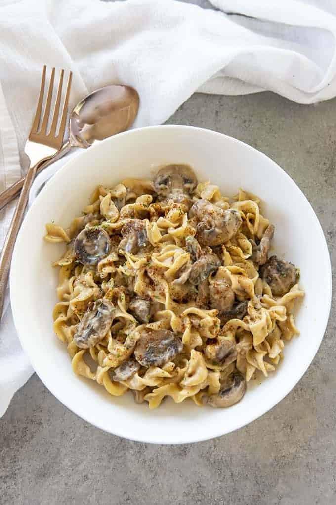 stroganoff with mushrooms in a bowl