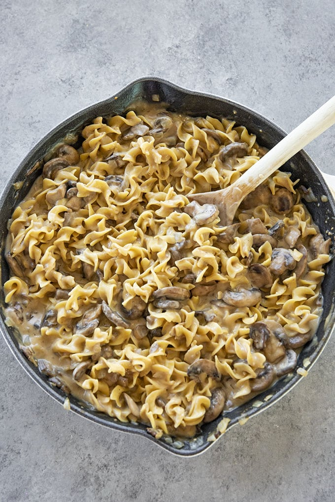 mushroom stroganoff with pasta in pan