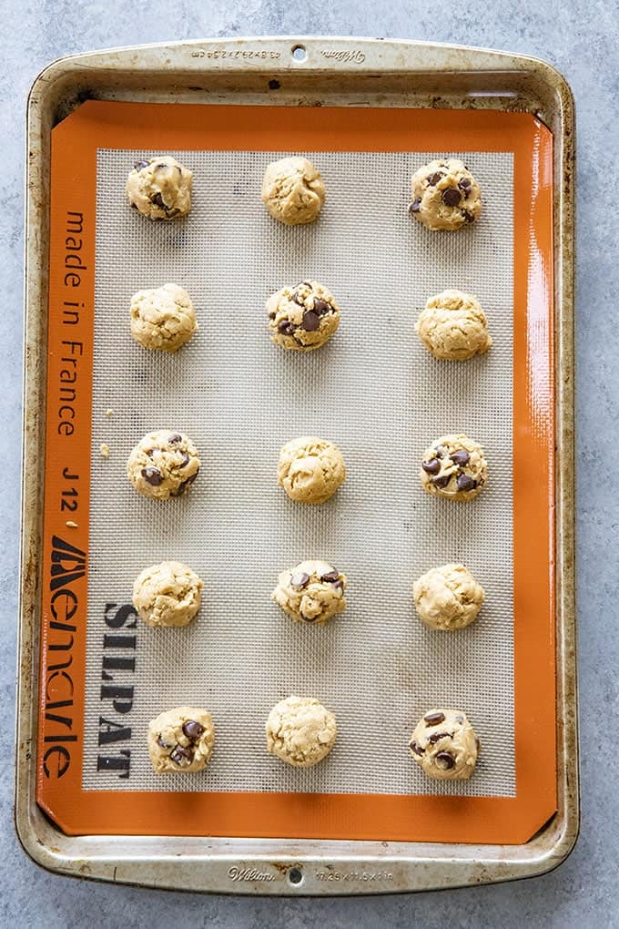 peanut butter oatmeal cookies on baking sheet