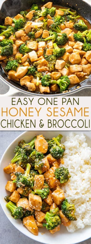 Honey Sesame Chicken and Broccoli is made in one pan and ready to eat in 20 minutes! You will love the mouthwatering sauce full of sesame, garlic, and honey!