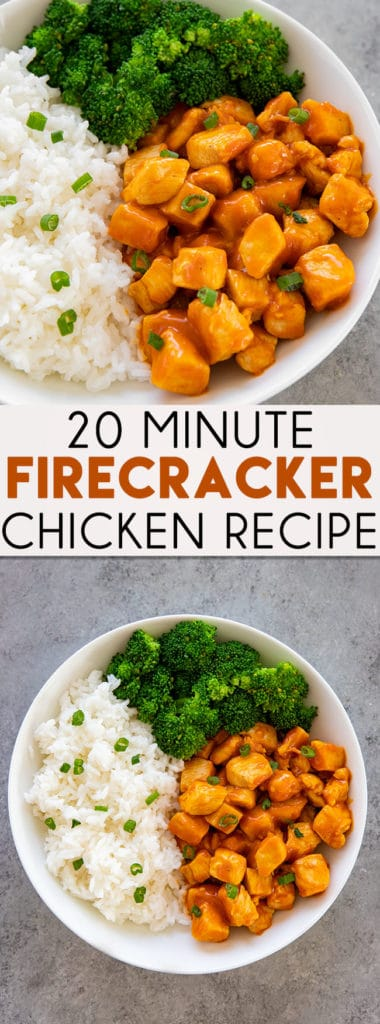 20 Minute Firecracker Chicken is tangy, spicy, and completely mouthwatering!  Make firecracker chicken at home, it's fast and easy, and way better than takeout! #chickenrecipes #chickendinnerrecipes