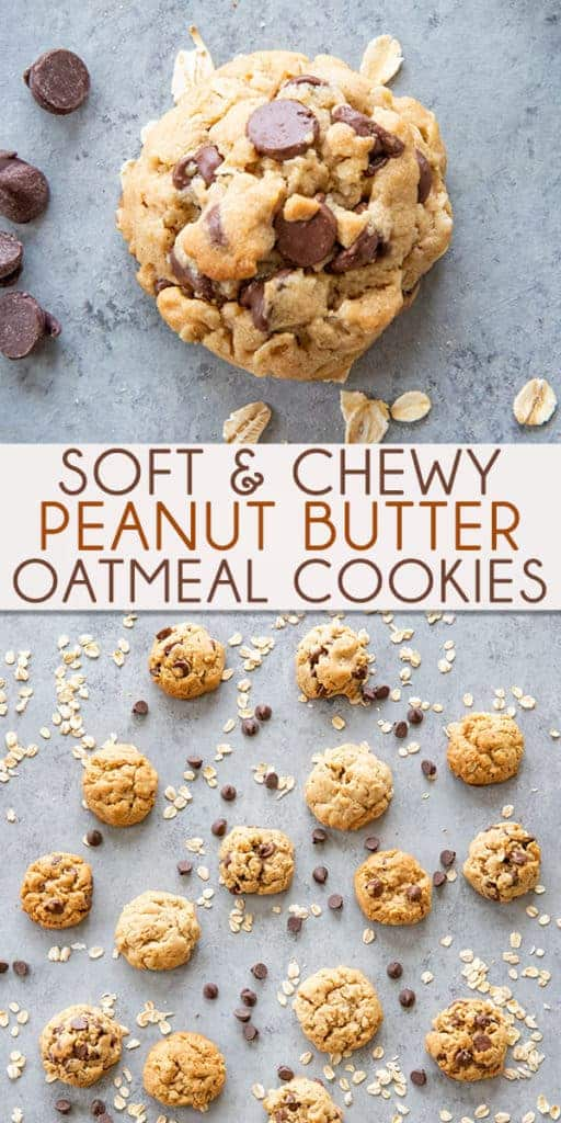 Perfect Peanut Butter Oatmeal Cookies are soft and chewy!  These oatmeal cookies have the perfect texture, and are so easy to make with or without chocolate chips!