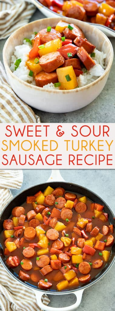 Sweet and Sour Smoked Sausage is a mouthwatering one pan meal!  This smoked sausage recipe is the perfect combination of tangy, sweet, and savory! #sausagerecipes #smokedsausage #smokedsausagerecipes #thesaltymarshmallow