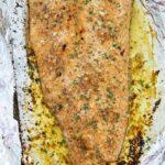 baked salmon on baking sheet