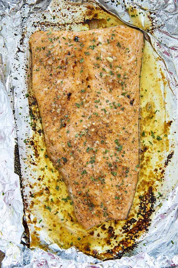 baked salmon on baking sheet