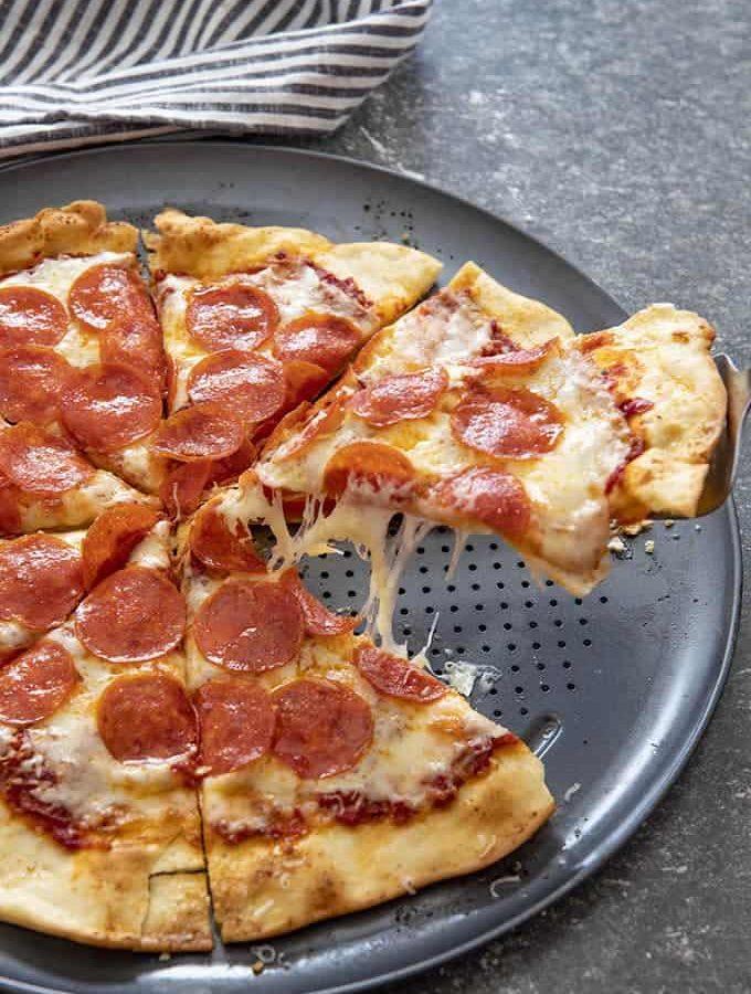 thin crust pizza slice