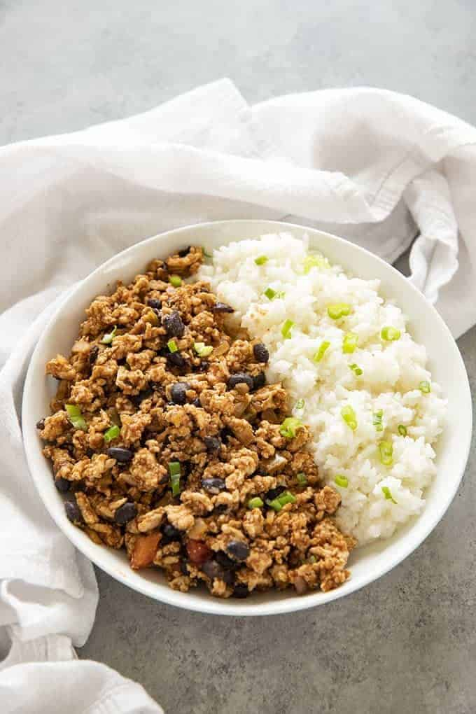 ground turkey taco meat with rice