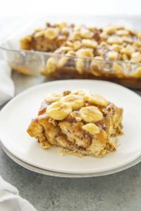 bananas foster french toast casserole on a plate