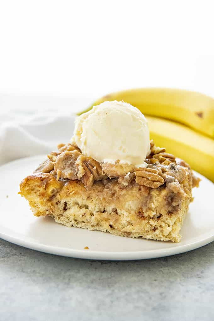 banana french toast casserole topped with ice cream