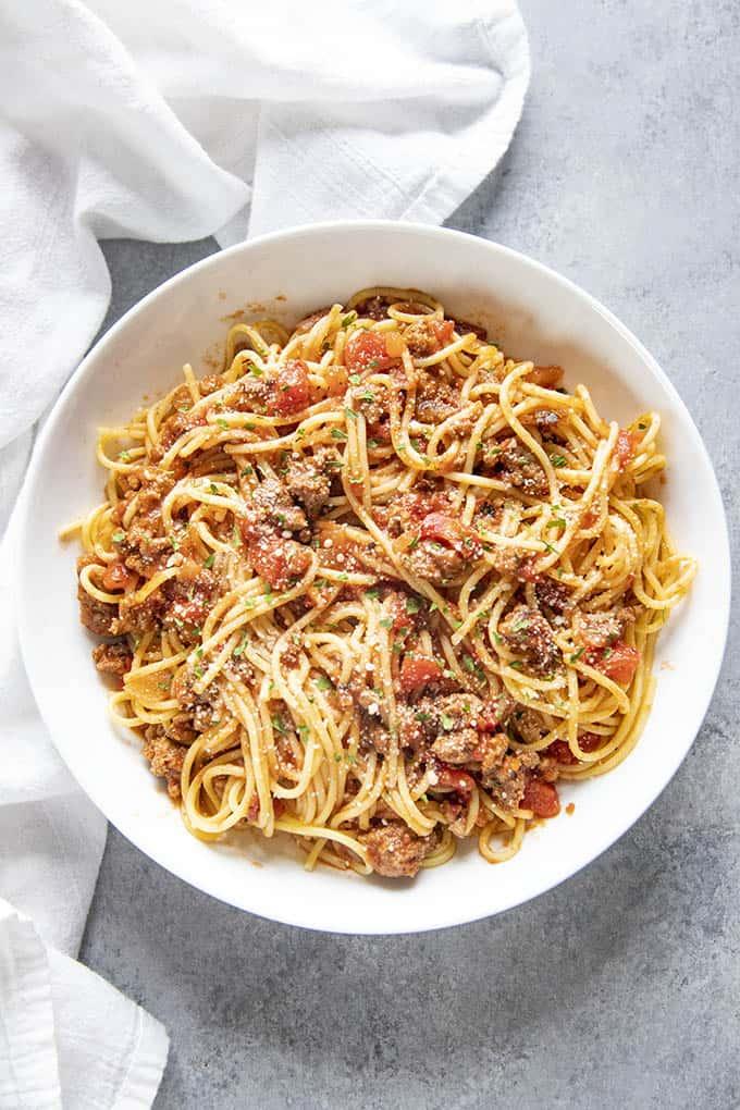 spaghetti in a bowl