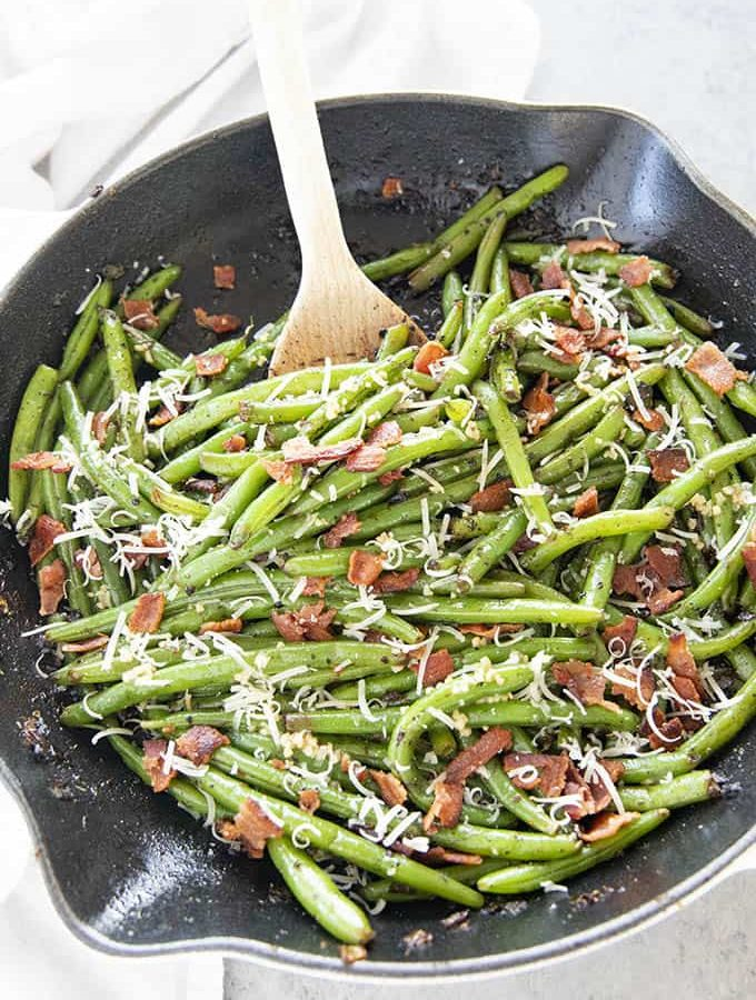 green beans with a spoon