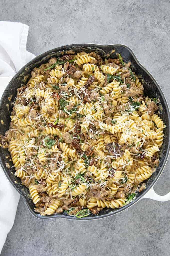 creamy italian rotini in pan