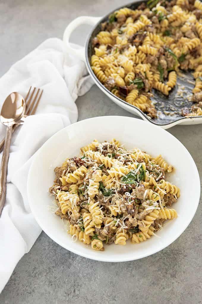 Italian rotini in a bowl