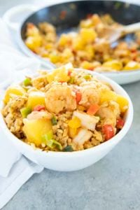 pineapple shrimp fried rice in a bowl