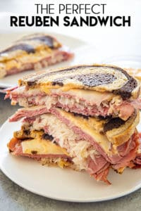 stacked reuben sandwich on a plate