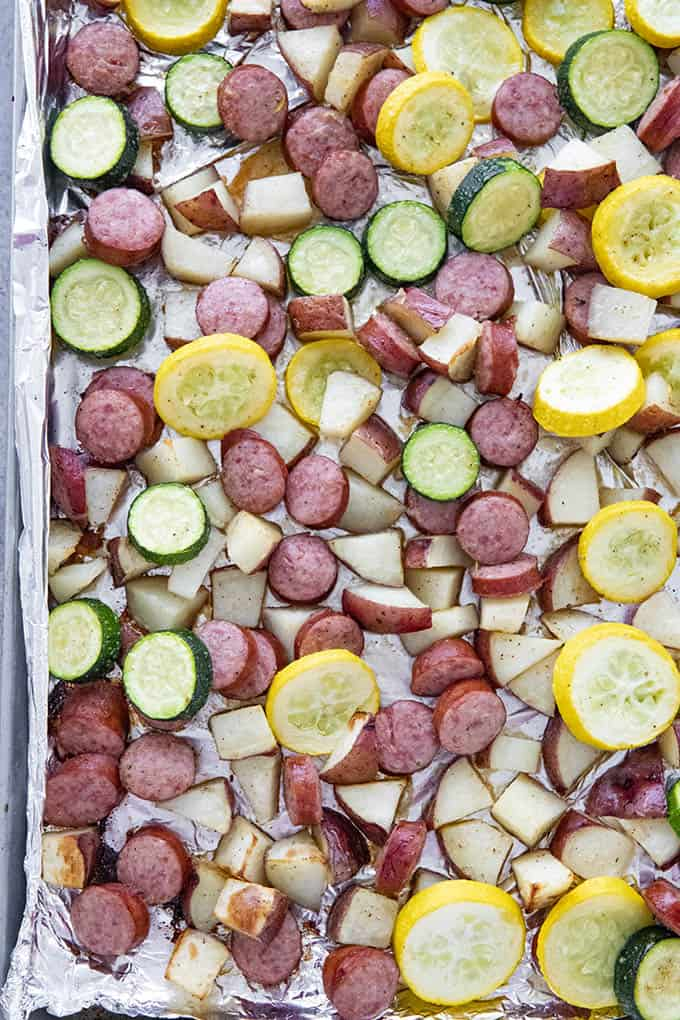 sheet pan sausage and potatoes with squash and zucchini