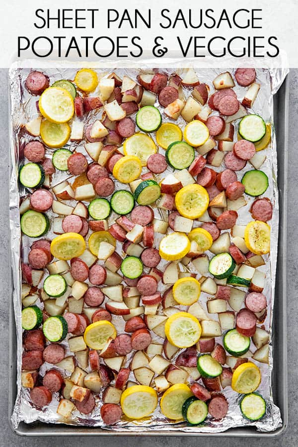 One Pan Sausage and Potatoes is an easy and versatile, oven baked dinner recipe! With simple prep and mouthwatering flavor this one is a family favorite! #sheetpandinner #smokedsausage #thesaltymarshmallow #easydinnerrecipes
