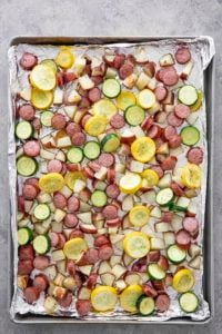 sausage potatoes and squash sheet pan
