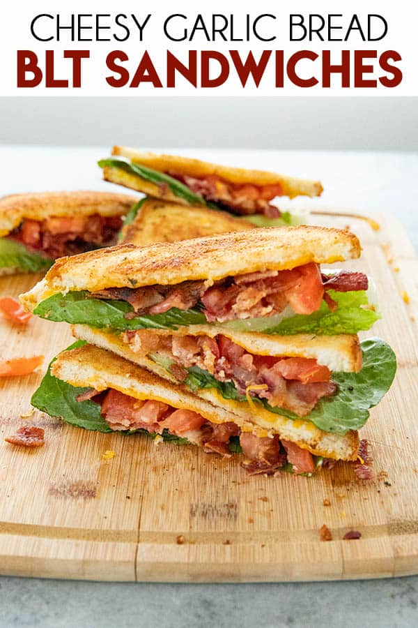 Cheesy Garlic Bread BLT is a classic sandwich amped up with flavor!  You'll love the cheesy garlic sourdough bread that makes these BLT'S extra mouthwatering! #sandwiches #blt #bltsandwich #thesaltymarshmallow #summerdinnerrecipes
