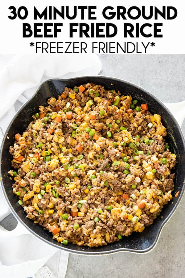 Ground Beef Fried Rice is a simple and super flavorful dinner made in 30 minutes! This mouthwatering meal will please the whole family, and it's freezer friendly!