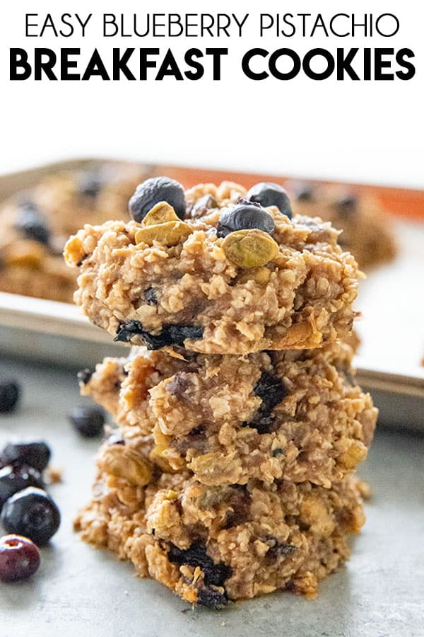 Blueberry Pistachio Breakfast Cookies are a quick, easy, and healthy breakfast recipe! Packed full of juicy berries, peanut butter, and oats!