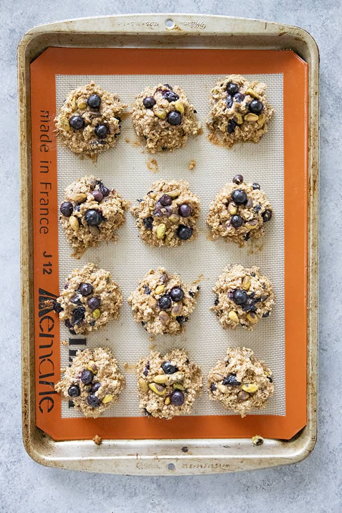 breakfast cookies on baking sheet